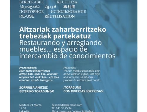 TOPAGUNE MARZO; RESTAURACIÓN Y ARREGLO DE MUEBLES…ESPACIO DE INTERCAMBIO DE CONOCIMIENTOS